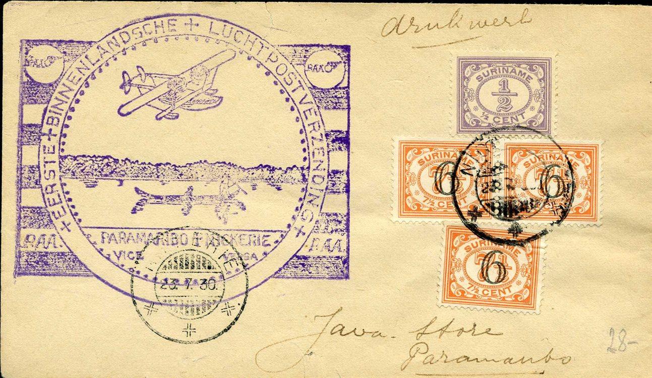 Blg Mit Aufdruckarken 1930 Fest In Der Struktur Surinam Erste Inlands-flugpost 427103